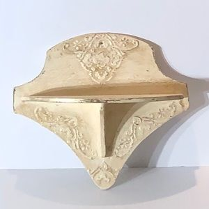 Ivory and Gold Wood Shelf, Wall Decor One Piece